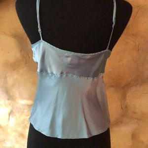 gold hawk Tops - Perfect blue silk , blue rhinestone accents Top